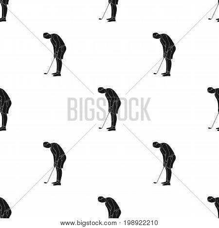 Golfer before kick icon in black style isolated on white background. Golf club symbol vector illustration.