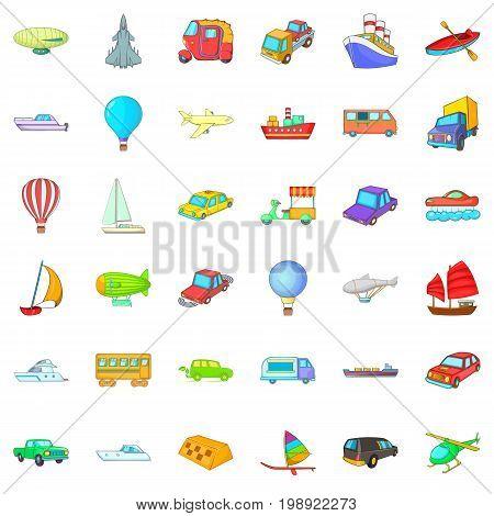 City vehicle icons set. Cartoon style of 36 city vehicle vector icons for web isolated on white background