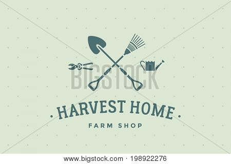 Logo of eco farm shop with symbol of gardening and organic icons, text Harvest Home. Logo template for eco business - farm shop, eco market or design - label, banner, sticker. Vector Illustration