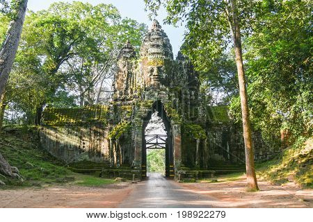 Bayon Temple Entrance Angkor Thom gate Siem Reap Cambodia.Stone Gate of Angkor Thom in Cambodia