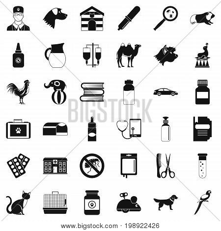 Veterinary hospital icons set. Simple style of 36 veterinary hospital vector icons for web isolated on white background