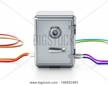 USB cables connected to steel safe. 3D illustration.