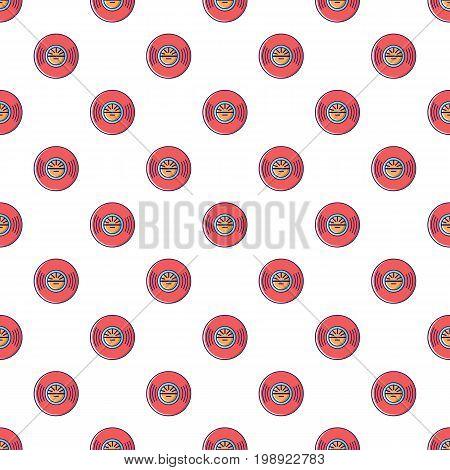 Vinyl record pattern in cartoon style. Seamless pattern vector illustration
