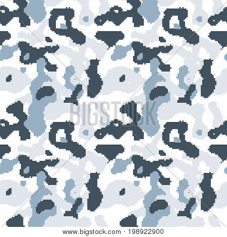 Pixelated camouflage seamless pattern to disguise in snow