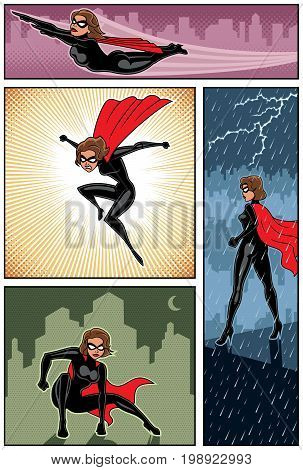 Set of 4 super heroine banners. No transparency and gradients used.