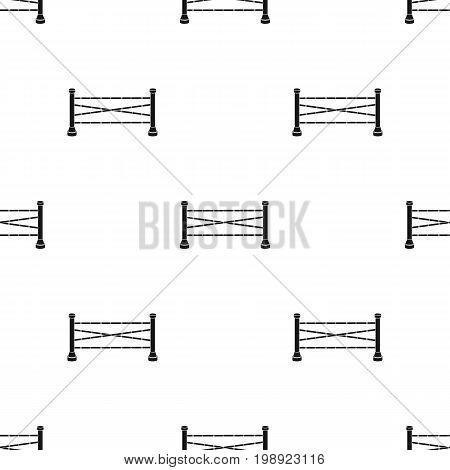 Equestrian barrier icon in black design isolated on white background. Hippodrome and horse symbol stock vector illustration.