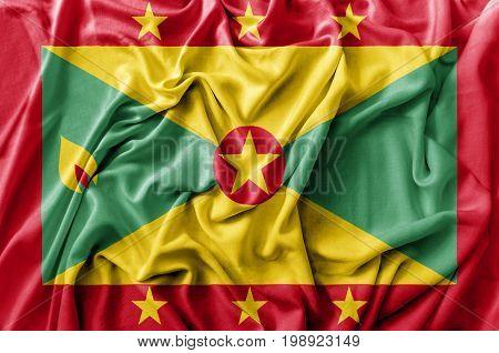 Ruffled waving Grenada flag national flag close