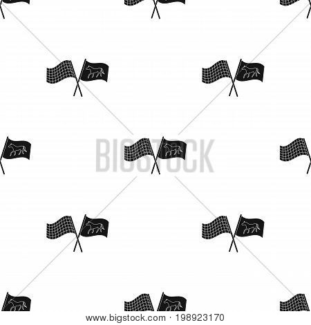 Crossed checkered and equestrian flags icon in black design isolated on white background. Hippodrome and horse symbol stock vector illustration.