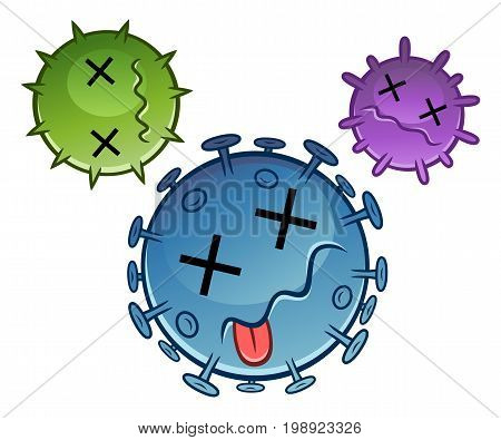 Three cartoon dead viruses. Cartoon pest series.