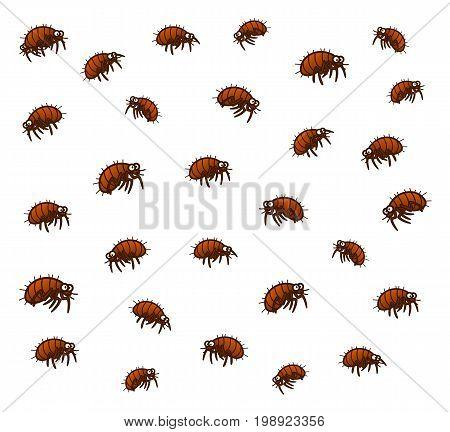 Group of cartoon vector fleas. Cartoon pest series.