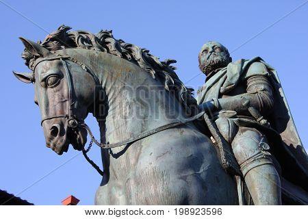 Bronze equestrian statue of Cosimo I de Medici (the Grand Duke of Tuscany) on the Piazza della Signoria in Florence, Tuscany, Italy. Florence is a popular tourist destination of Europe.