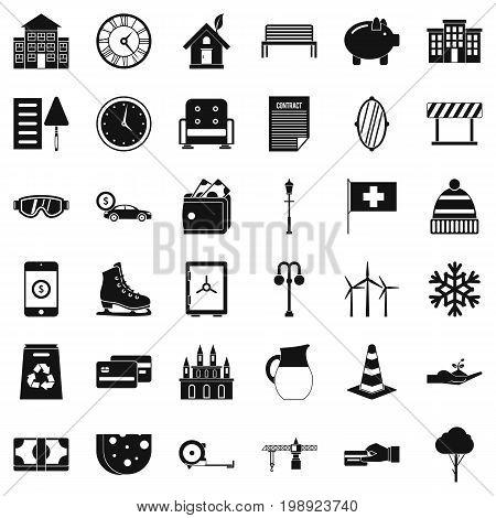 Villa icons set. Simple style of 36 villa vector icons for web isolated on white background