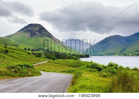 Wast Water lake, view fromo the road, Lake District National Park, England, selective focus