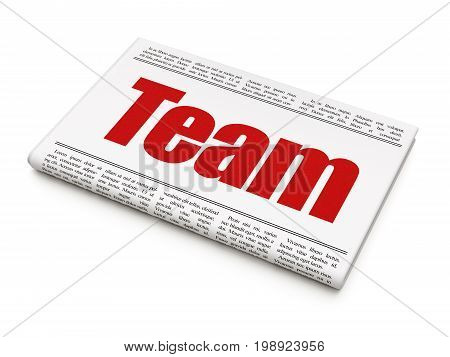 Business concept: newspaper headline Team on White background, 3D rendering