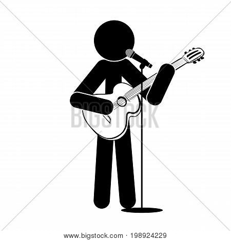 Stick man stands, plays the guitar, sings into a microphone vector sign