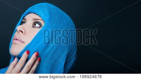 Seductive Model Posing With Blue Headscarf