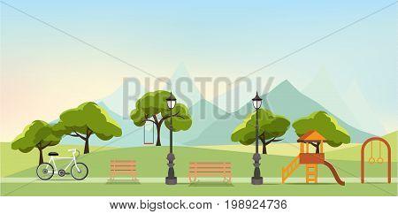 nature landscape with gardenpublic park amusement park vector illustration