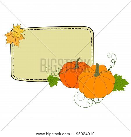 Hand drawn colorful doodle illustration pumpkins maple leaves frame mockup for typography copyspace for text thanksgiving harvesting fall invitation card template