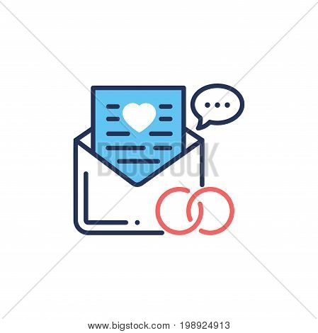 Wedding Vowes - modern vector single line design icon. Two rings for marriage, a letter page with a heart showing from envelope. White background, red, blue color, speech bubble sign.