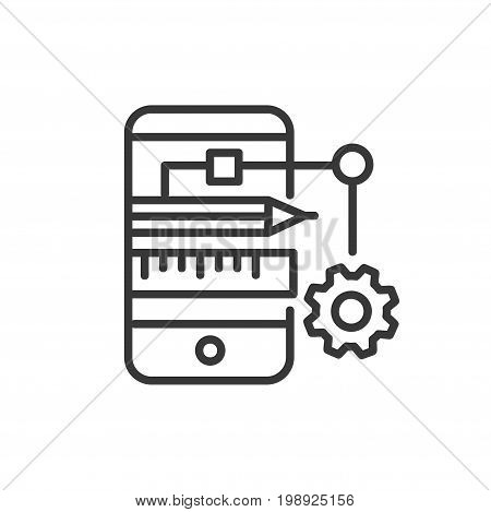 App Developing - modern vector single line design icon. An image depicting a mobile device, tablet, phone of blue color, red pencil, measuring ruler, gear. Use it for your presentation.