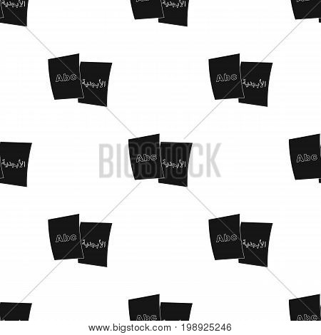 Foreign writing icon in black design isolated on white background. Interpreter and translator symbol stock vector illustration.