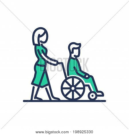 Disabled People Help - modern vector single line design icon. An image of two persons, female pushing a wheel chair with male, green color, white background. Charity, care, volunteering presentation
