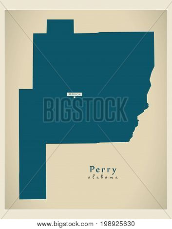 Modern Map - Perry Alabama County Usa Illustration