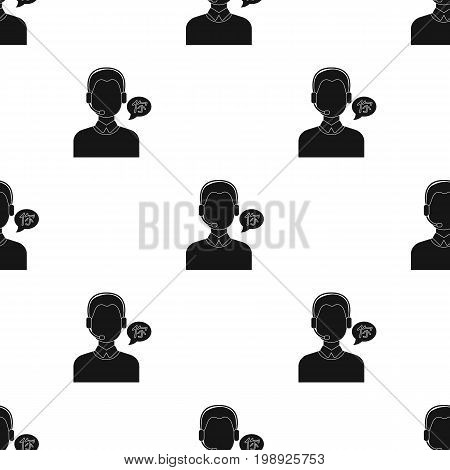 Translator icon in black design isolated on white background. Interpreter and translator symbol stock vector illustration.