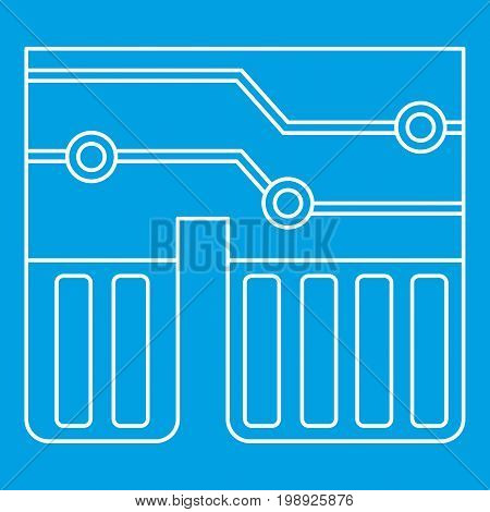 Computer chipset icon blue outline style isolated vector illustration. Thin line sign