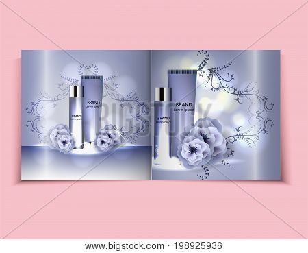 Moisturizing face cream package cosmetics design, ads, templates for design light blue cosmetic brochure design can also be used on catalogs or magazines, 3d illustration.