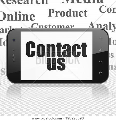 Advertising concept: Smartphone with  black text Contact Us on display,  Tag Cloud background, 3D rendering