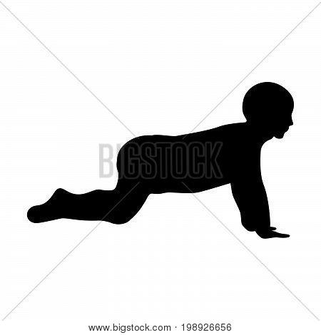 Crawling Baby Black Color Icon .