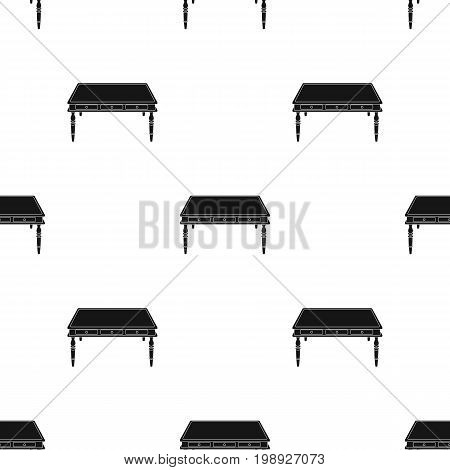 Wooden table icon in black design isolated on white background. Library and bookstore symbol stock vector illustration.