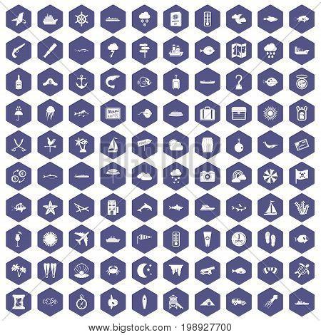 100 marine environment icons set in purple hexagon isolated vector illustration
