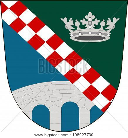 Coat of arms of Furstenfeldbruck is a district in Upper Bavaria Germany. Vector illustration from the
