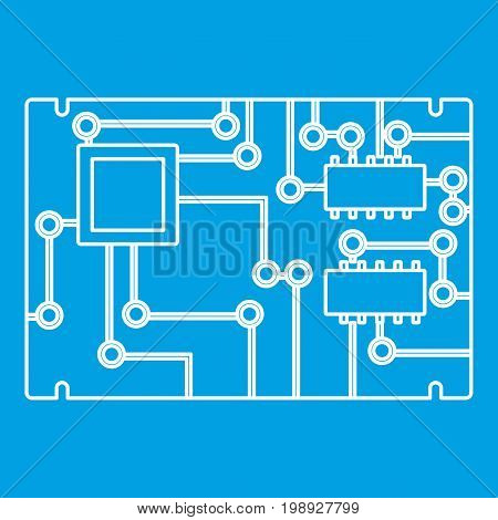 Electronic board icon blue outline style isolated vector illustration. Thin line sign
