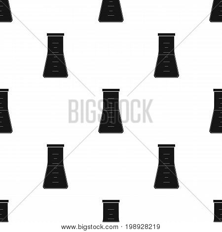 Volumetric flask with liquid.Medicine single icon in black style vector symbol stock illustration .