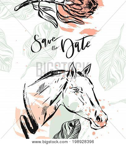 Hand drawn vector modern boho tropical minimalistic save the date card template with exotic palm leaf, protea flower and graphic horse head in pastel and green colors.Design for card, invitation