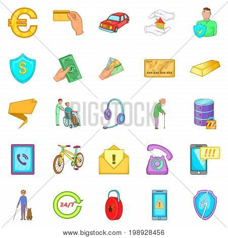 Actuarial icons set. Cartoon set of 25 actuarial vector icons for web isolated on white background