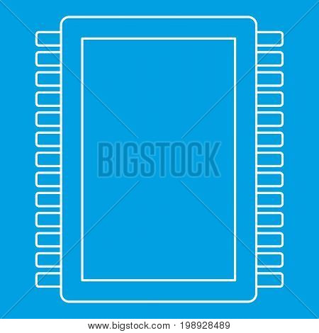Computer electronic circuit board icon blue outline style isolated vector illustration. Thin line sign