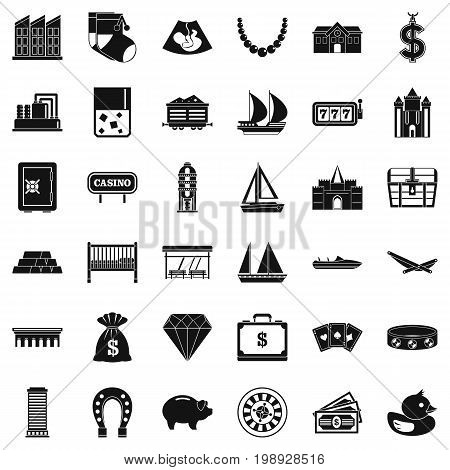 Savings icons set. Simple style of 36 savings vector icons for web isolated on white background