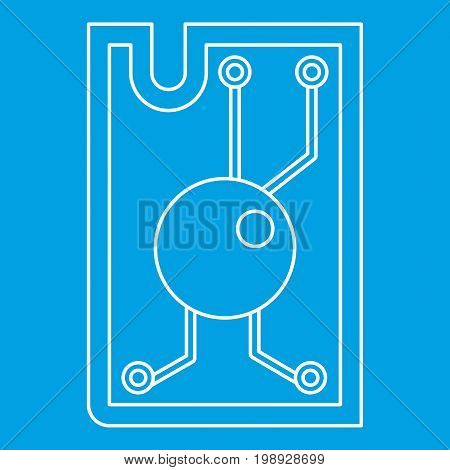 Processor chip icon blue outline style isolated vector illustration. Thin line sign