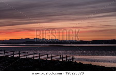 A Beautiful Colorful Sunset View On The Morecambe Beach