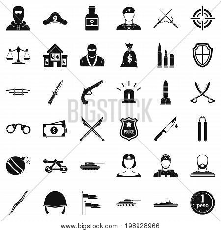 Soldier weapon icons set. Simple style of 36 soldier weapon vector icons for web isolated on white background