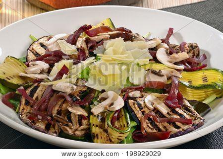 Zucchini and eggplant salad dish.