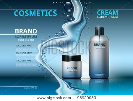 Cosmetic realistic package ads template. Face and body cream hydrating products in blue bottles. Mockup 3D illustration. Sparkling water drops backgrounds