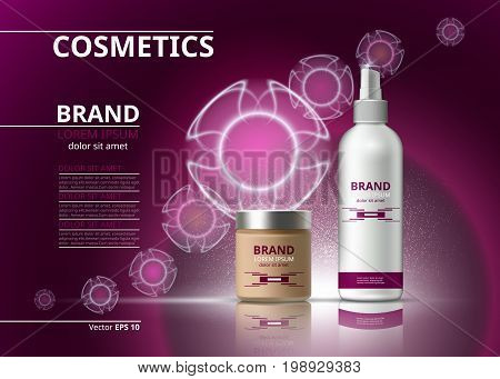 Cosmetic realistic package ads template. Hydrating bb cream and micellar water products bottles. Mockup 3D illustration. Sparkling backgrounds