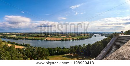 Rural landscape Panorama from the famous temple Walhalla near Regensburg in Regensburg, Bavaria, Germany
