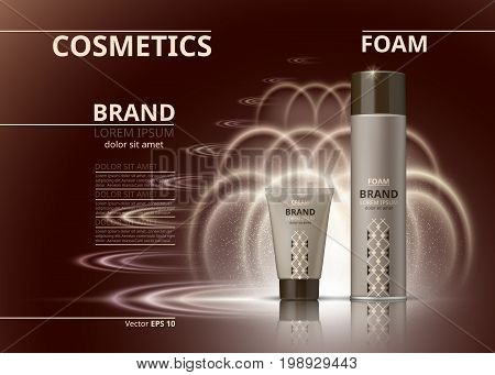 Cosmetic realistic package ads template. Hydrating body foam and gel products bottles. Mockup 3D illustration. Sparkling backgrounds