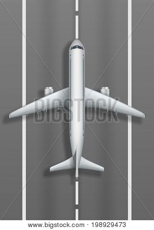 Airstrip with white airplane. Plane mockup top view. Vector illustration EPS 10